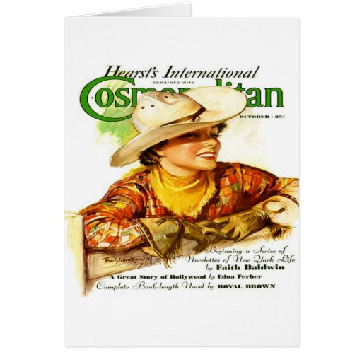 Vintage Cosmopolitan Magazine Cover (Cowgirl) Card