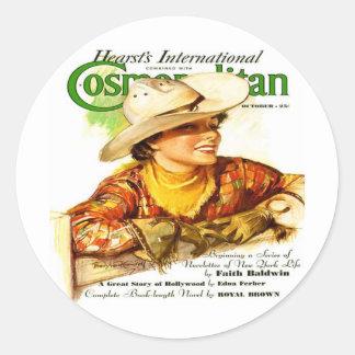 Vintage Cosmopolitan Magazine Cover (Cowgirl) Classic Round Sticker