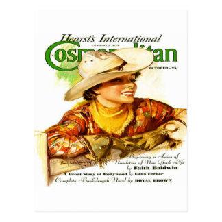 Vintage Cosmopolitan Magazine Cover (Cowgirl) Postcard