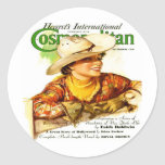 Vintage Cosmopolitan Magazine Cover (Cowgirl) Round Stickers