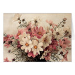 Vintage Cosmos Bouquet Greeting Card