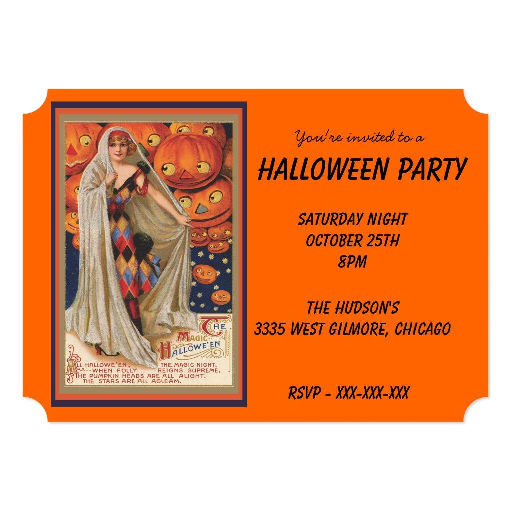 Vintage Costume and Pumpkins Halloween Invitation