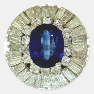 Vintage Costume Jewelry Rhinestones Diamonds Classic Round Sticker
