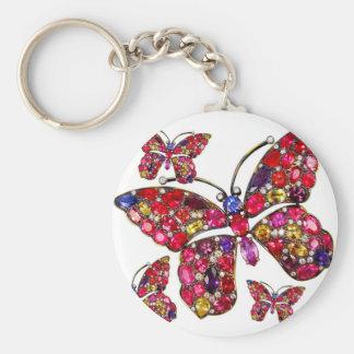 Vintage Costume Jewelry Rhinestones Diamonds Basic Round Button Keychain