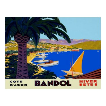 Beach Themed Vintage Cote D'Azur Bandol French Travel Poster