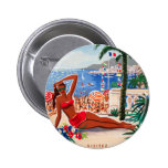 Vintage Cote D'Azur Beach Girl 2 Inch Round Button