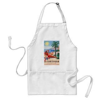 Vintage Cote D'Azur Beach Girl Adult Apron