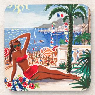 Vintage Cote D'Azur Beach Girl Beverage Coaster
