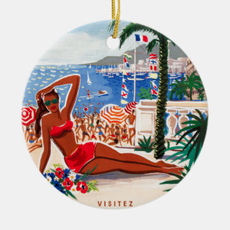 Vintage Cote D'Azur Beach Girl Ceramic Ornament