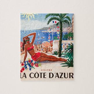 Vintage Cote D'Azur Beach Girl Jigsaw Puzzle