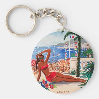 Vintage Cote D'Azur Beach Girl Keychain