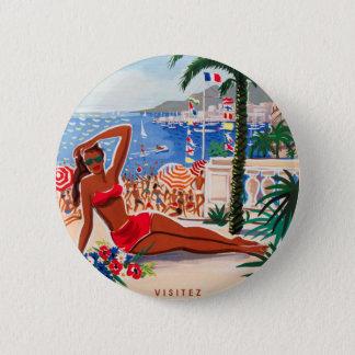 Vintage Cote D'Azur Beach Girl Pinback Button