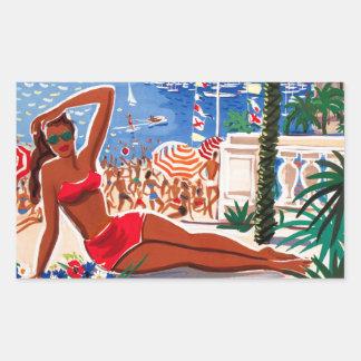 Vintage Cote D'Azur Beach Girl Rectangular Sticker