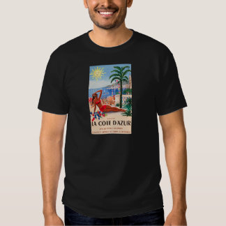 Vintage Cote D'Azur Beach Girl Tee Shirts