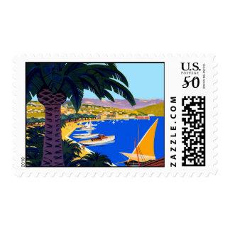 Vintage Cote D'Azur France Travel Stamp