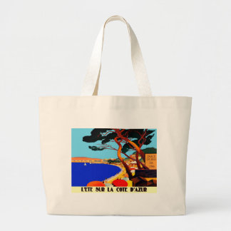 Vintage Cote D'Azur French Travel Jumbo Tote Bag