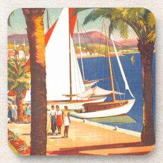 Vintage Cote D'Azur French Travel Beverage Coaster
