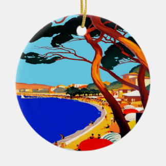 Vintage Cote D'Azur French Travel Ceramic Ornament