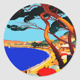 Vintage Cote D'Azur French Travel Classic Round Sticker