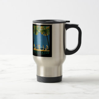 Vintage Cote D'Azur French Travel 15 Oz Stainless Steel Travel Mug