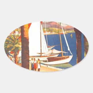 Vintage Cote D'Azur French Travel Oval Sticker