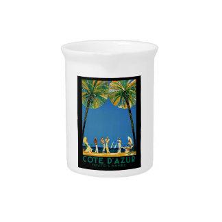 Vintage Cote D'Azur French Travel Beverage Pitcher