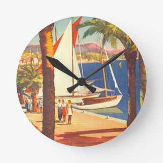 Vintage Cote D'Azur French Travel Round Clock