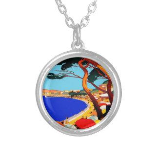 Vintage Cote D'Azur French Travel Round Pendant Necklace