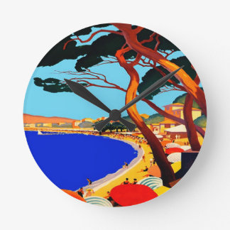 Vintage Cote D'Azur French Travel Round Wallclocks