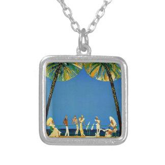 Vintage Cote D'Azur French Travel Square Pendant Necklace