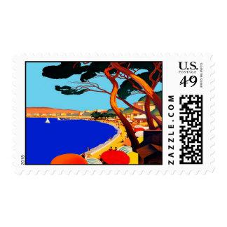 Vintage Cote D'Azur French Travel Stamp