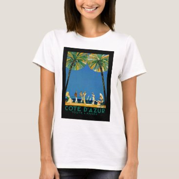 Beach Themed Vintage Cote D'Azur French Travel T-Shirt