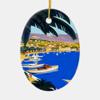 Vintage Cote D'Azur Travel Ceramic Ornament