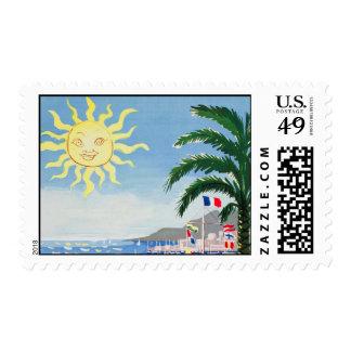 Vintage Cote D'azur Yellow Sun Palm Travel Stamp
