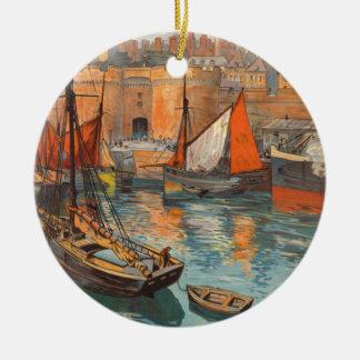 Vintage Cote d'Emeraude Saint Malo Port Tourism Ceramic Ornament
