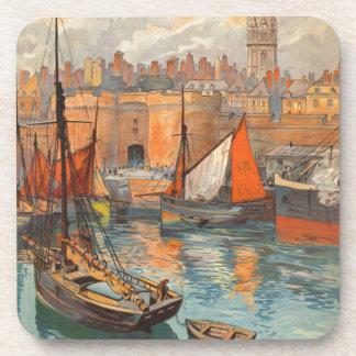 Vintage Cote d'Emeraude Saint Malo Port Tourism Drink Coaster