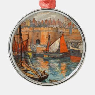 Vintage Cote d'Emeraude Saint Malo Port Tourism Metal Ornament