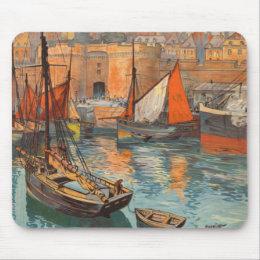 Vintage Cote d'Emeraude Saint Malo Port Tourism Mouse Pad