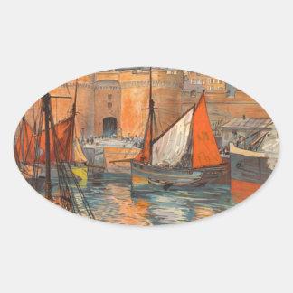Vintage Cote d'Emeraude Saint Malo Port Tourism Oval Sticker
