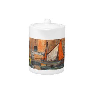 Vintage Cote d'Emeraude Saint Malo Port Tourism Teapot