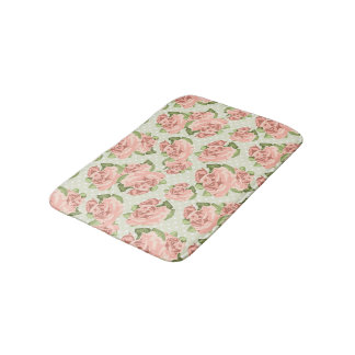 Vintage Cottage Chic Pink Roses Bath Mat