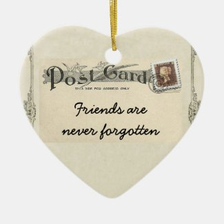 Vintage Cottage Friends Postcard Ornament