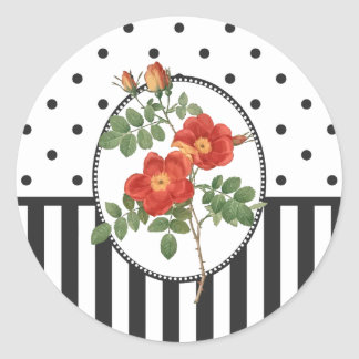 Vintage Cottage Girly Pink Rose Botanical Classic Round Sticker