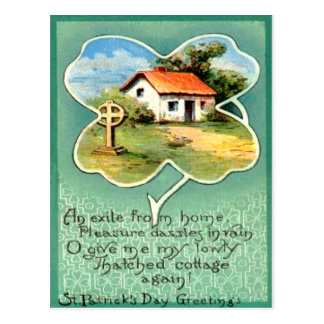 Vintage Cottage Irish Cross St Patrick's Day Card