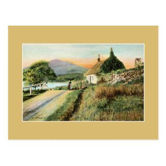 Vintage cottage Loch Long watercolour art Post Cards