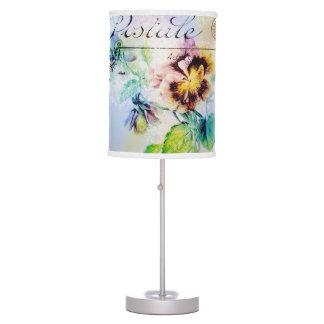 Vintage cottage pansy flower postcard lamps