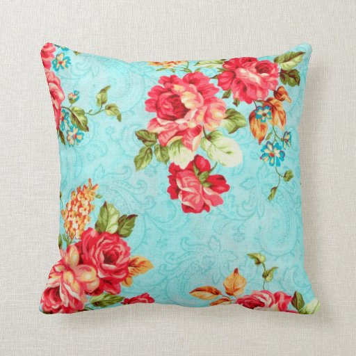 Vintage Cottage Red Rose Floral Decorative Pillow Zazzle