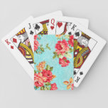 "Vintage Cottage Red Rose Floral Playing Cards<br><div class=""desc"">A beautiful shabby chic vintage cottage red &amp; orange p roses set on a turquoise blue background flower floral pattern feminine girly playing cards</div>"
