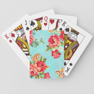 Vintage Cottage Red Rose Floral Playing Cards