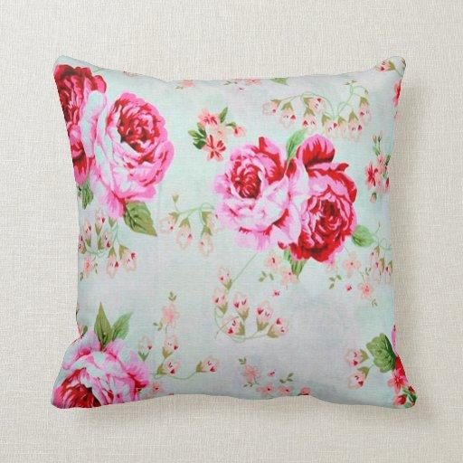 Vintage Cottage Rose Floral Decorative Pillow Zazzle